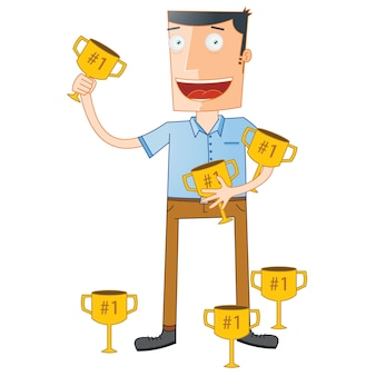 Troféus de espera do estudante em destaque