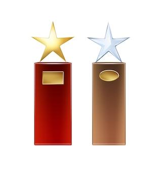 Troféus de estrela de vidro dourado e vetorial com uma grande base vermelha e marrom e placas douradas para a vista frontal do copyspace isolado no fundo branco