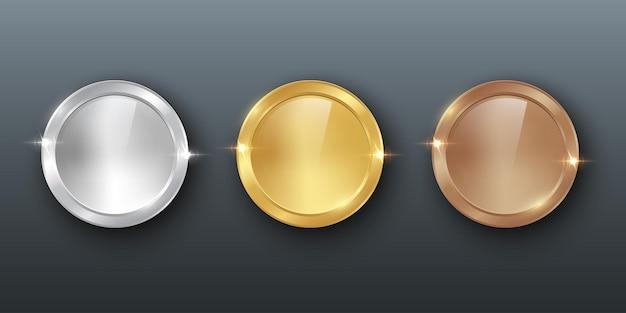 Troféus de medalhas de brilho realistas para o primeiro segundo e terceiro lugar prêmios de bronze de prata dourada