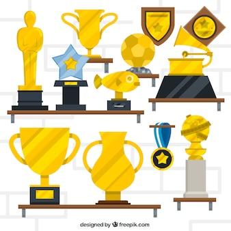 Troféus dourados planas definir