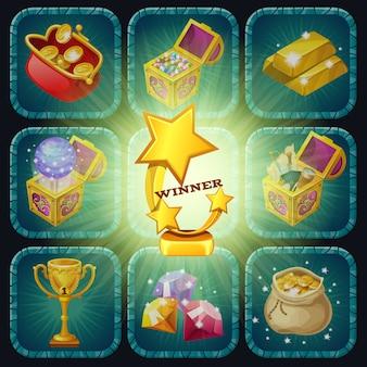 Troféus e prêmios de ouro.