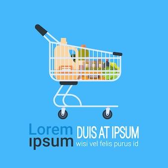 Trole of grocery products food carrinho de compras isolado