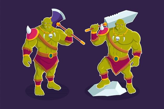Troll orc ilustração de personagem de desenho animado