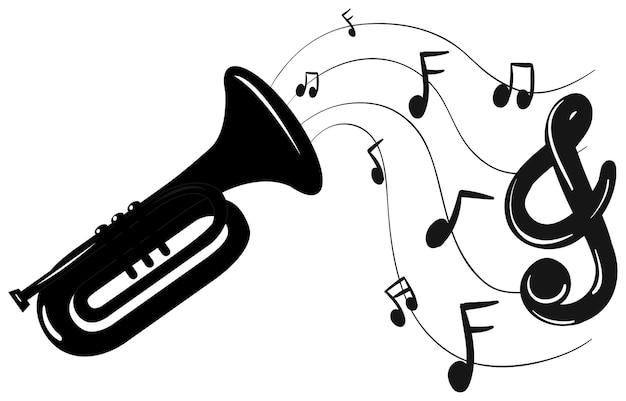 Trombeta e notas musicais de fundo