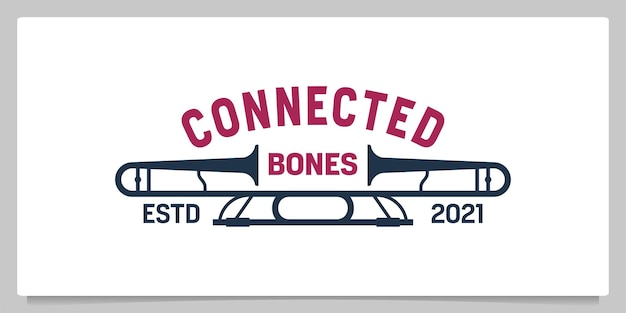 Trombeta trombone musical vintage logo design ilustração