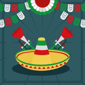 Trombetas mexicanas e chapéu