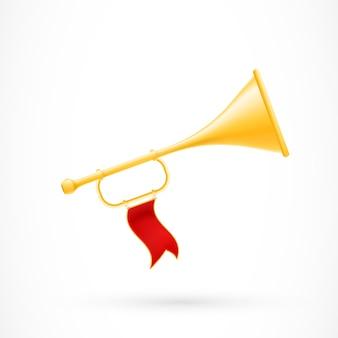 Trompete com bandeira vermelha