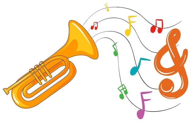 Trompete com notas musicais de fundo