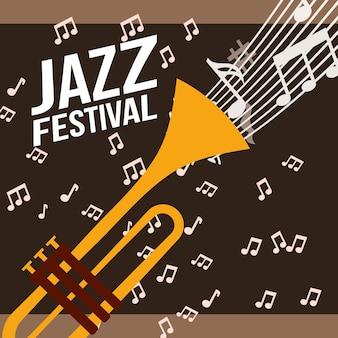 Trompete festival de jazz tocar música notas de fundo