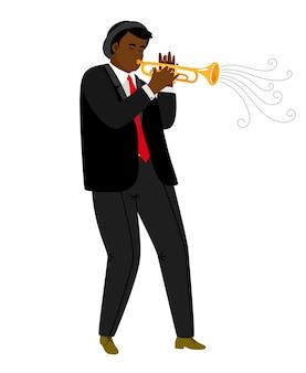 Trompetista de jazz tocando concerto isolado no branco