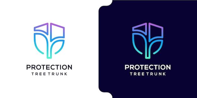 Tronco de árvore de proteção com design de logotipo em escudo