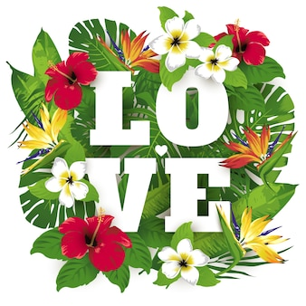 Tropic e exóticas plantas bonitas e flores poster impressão