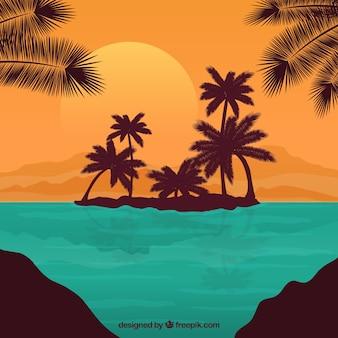 Tropicais, ilha, fundo
