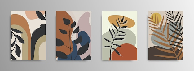 Tropical abstrato deixa capas de cartaz. fundo abstrato. padrão de moda de flores tropicais. palmeiras, folhas exóticas. estoque .