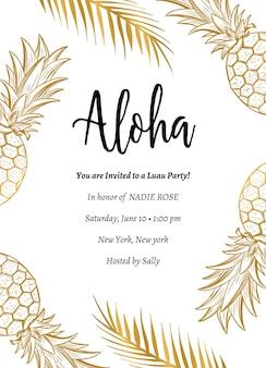 Tropical aloha summer party invite aloha party template design com abacaxi e ramo