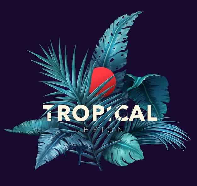 Tropical brilhante com plantas da selva.