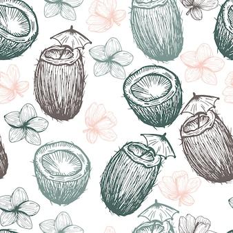 Tropical coco e flores mão desenhada padrão