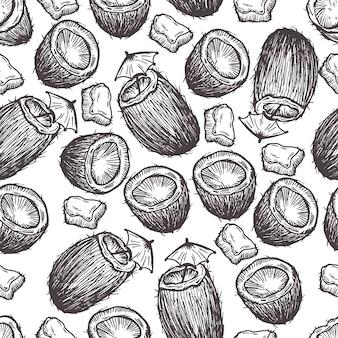 Tropical coco mão desenhada padrão