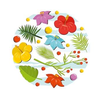 Tropical conjunto com flores e frutas.