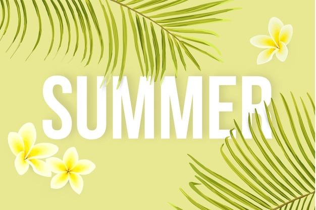 Tropical de verão com folhas de palmeiras exóticas e flores