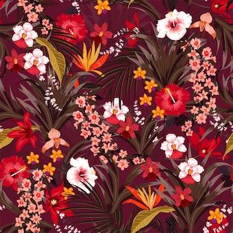 Tropical de verão com plantas de selva vector pattern