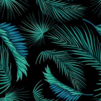Tropical de vetor deixa padrão sem emenda de verão