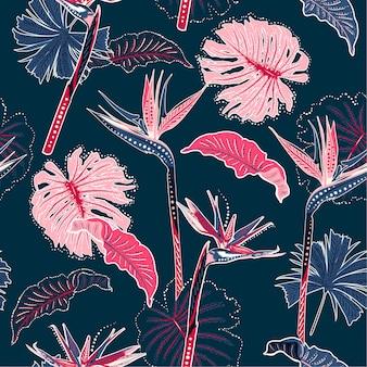 Tropical exótico deixa padrão sem emenda de mão desenhada estilo