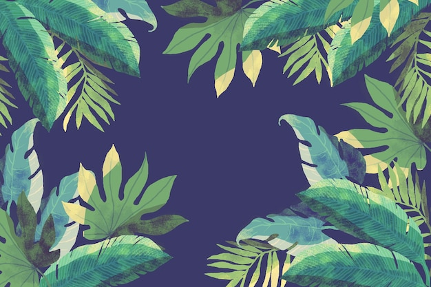Tropical flowers / leaves - fundo para o zoom