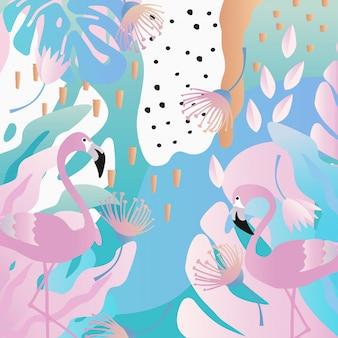 Tropical folhas e flores de fundo com flamingos