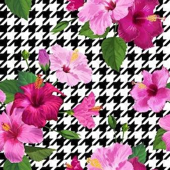 Tropical hibiscus flower seamless pattern. fundo geométrico floral do verão para tecido têxtil, papel de parede, decoração, papel de embrulho. projeto botânico em aquarela. ilustração vetorial