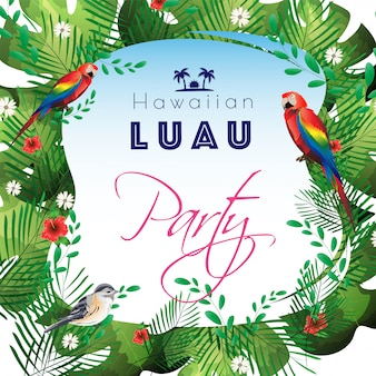 Tropical leaves decorated party template