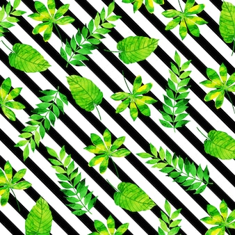 Tropical Leaves Pattern em estilo aquarela com listras