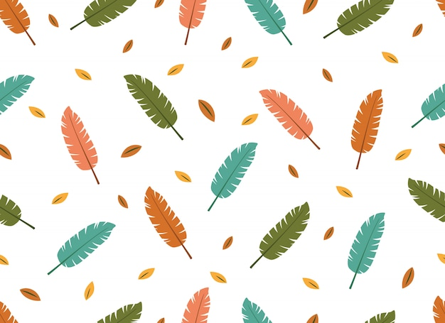 Tropical leaves seamless pattern on white