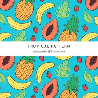 Tropical padrão com deliciosas frutas