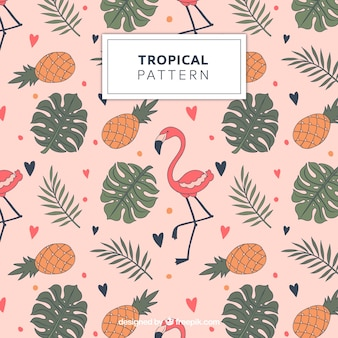 Tropical padrão com flamingos e abacaxis