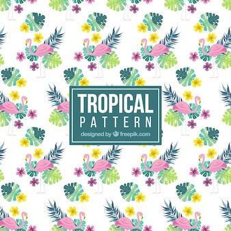 Tropical padrão com flamingos e plantas