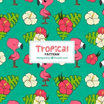 Tropical padrão com folhas e flamingos