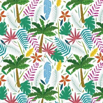 Tropical padrão com palmeiras e folhas exóticas de verão