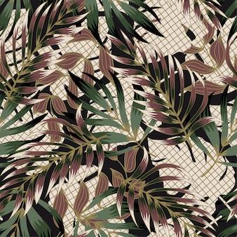 Tropical padrão sem emenda com folhas e plantas. desenho abstrato moderno