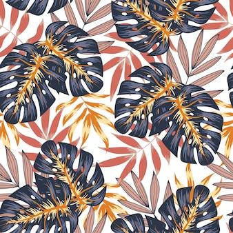 Tropical padrão sem emenda com folhas marrons e azuis