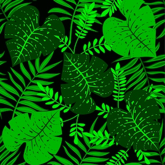 Tropical padrão sem emenda com plantas verdes em um fundo escuro