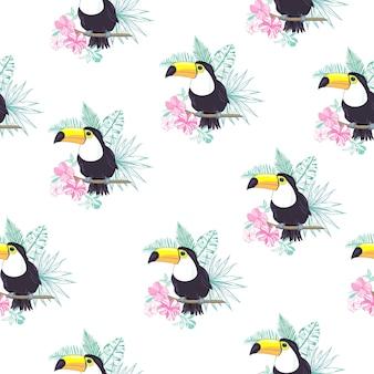 Tropical padrão sem emenda com tucanos, folhas exóticas