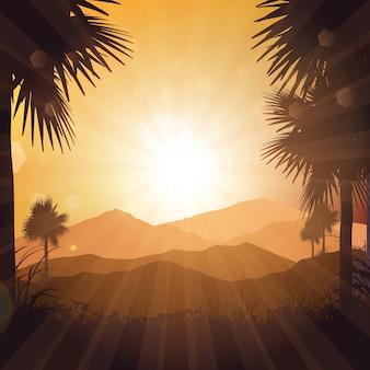 Tropical, paisagem, contra, pôr do sol, céu