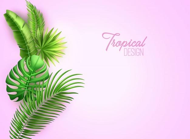 Tropical realista de vetor deixa férias exóticas