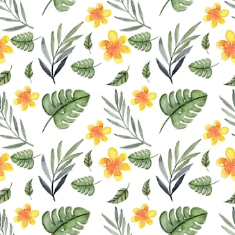 Tropical seamless pattern com summer floral
