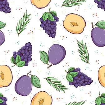 Tropical seamless pattern padrão de verão com uva, pêssego e folhas