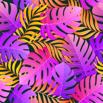 Tropical sem costura padrão natural de folhas exóticas.