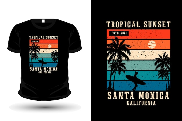 Tropical sunset santa monica mercadoria silhueta t-shirt design estilo retro