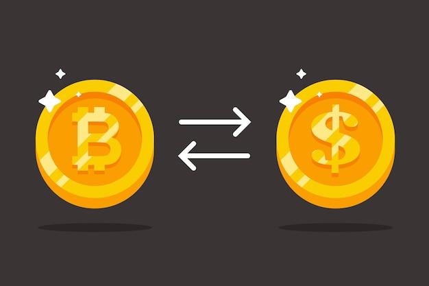 Troque bitcoin por dólares. ilustração plana