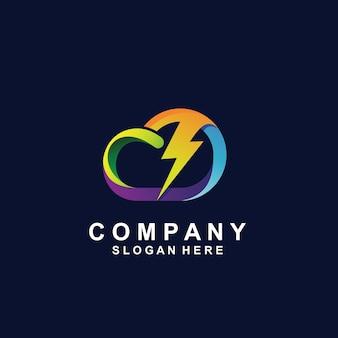 Trovão e nuvem em design de logotipo de estilo colorido